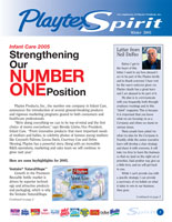 Layout of Playtex Spirit Quarterly Newsletter cover